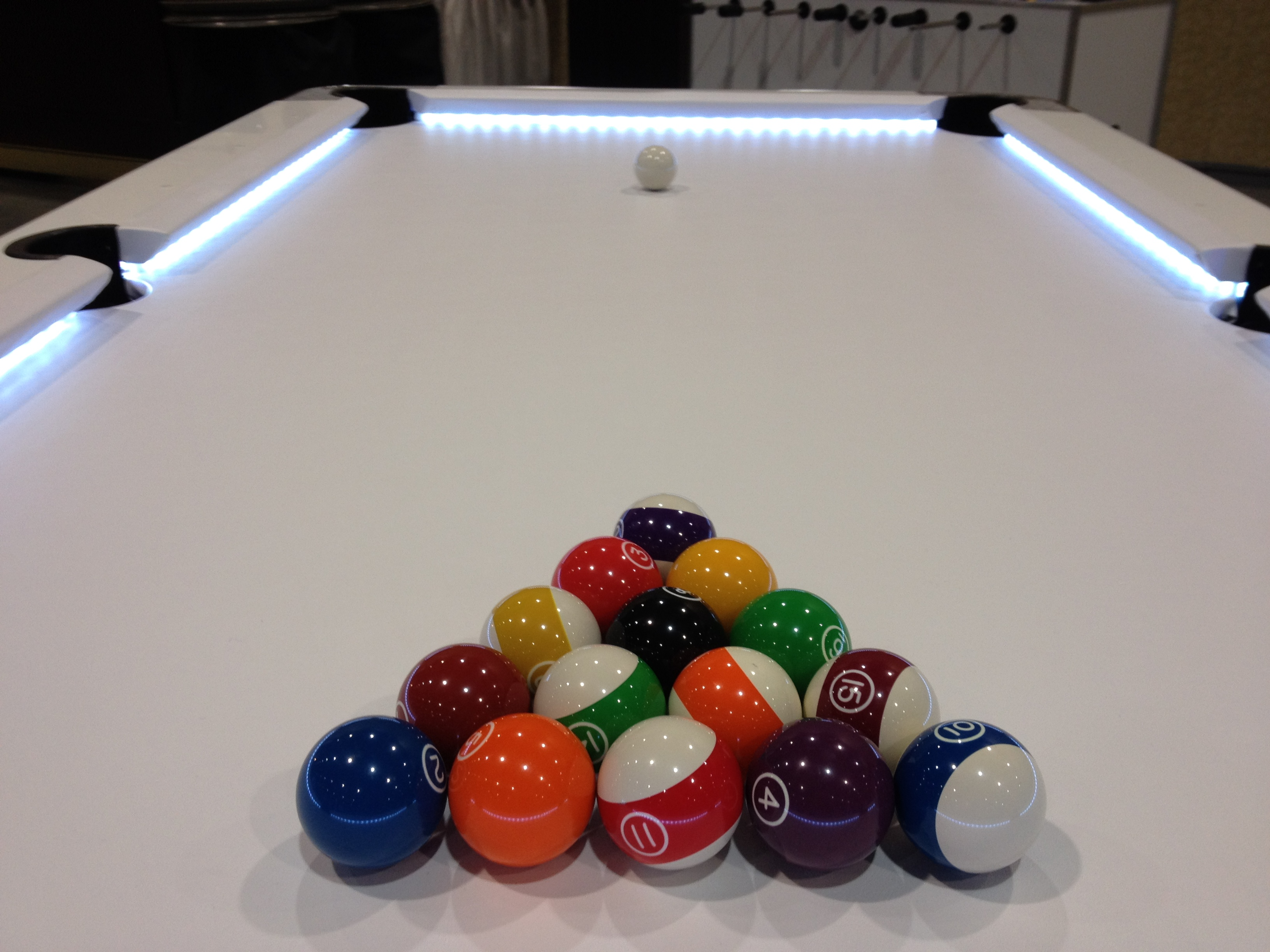 who makes this pool table with lights under the cushions