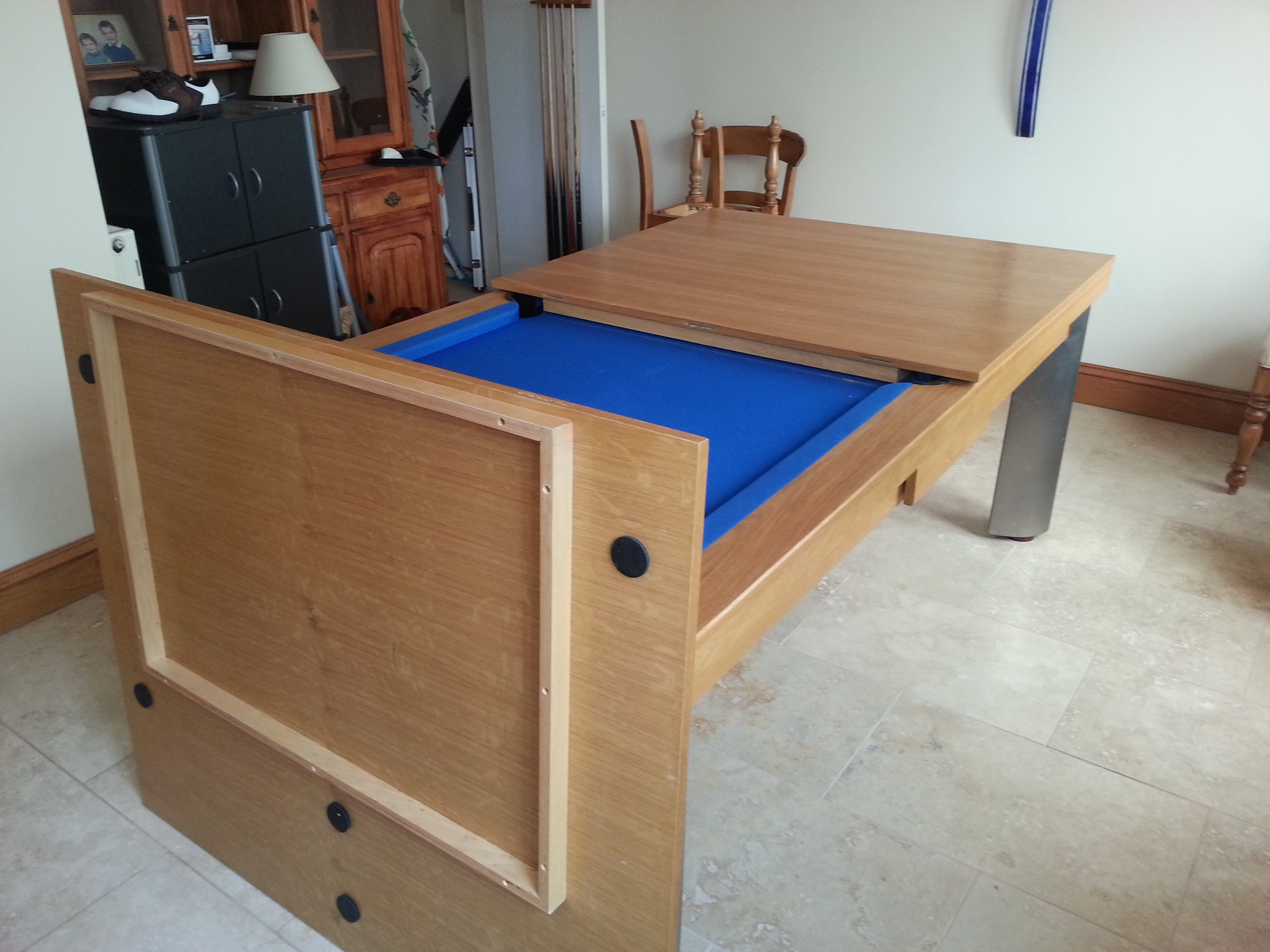Storing Seating from a Pool Table Dining Table Combo