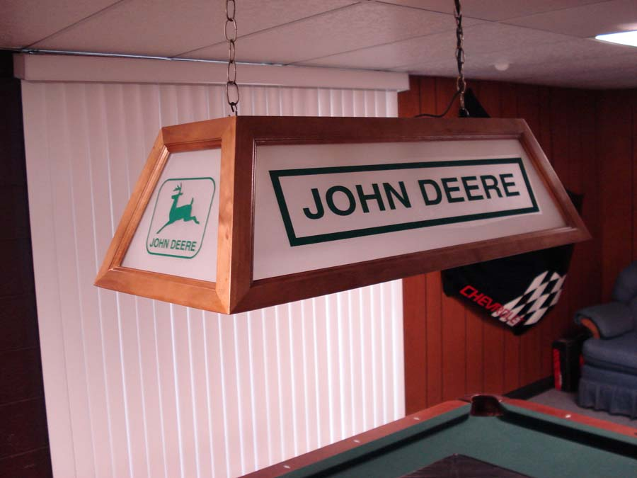 Vingage John Deere Table Lamps : Billiard lights above pool table lamp
