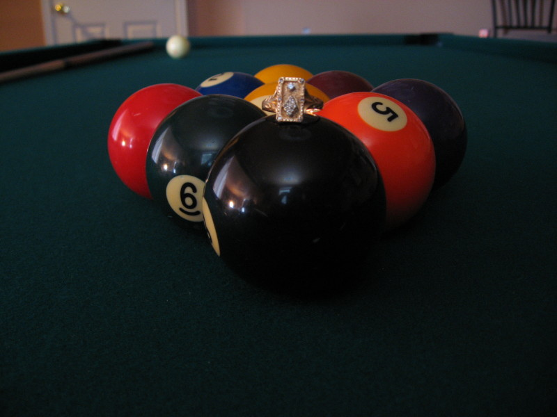 Pool Table Ring With Diamonds