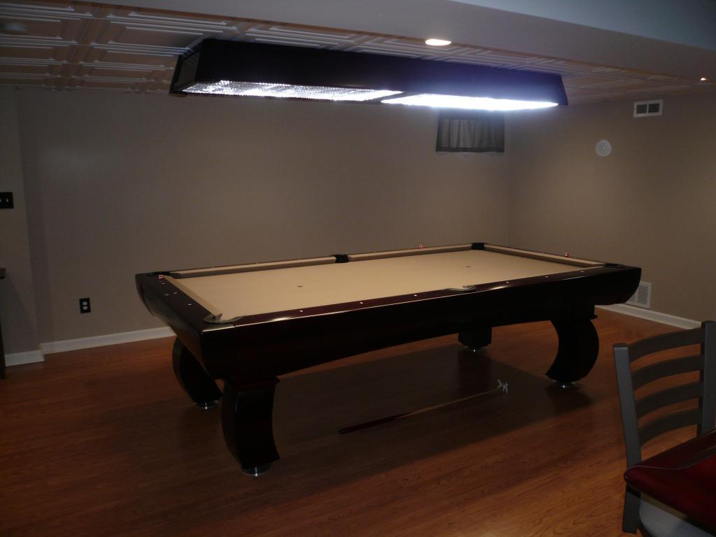 Basement billiard room in progress - Space needed for pool table ...